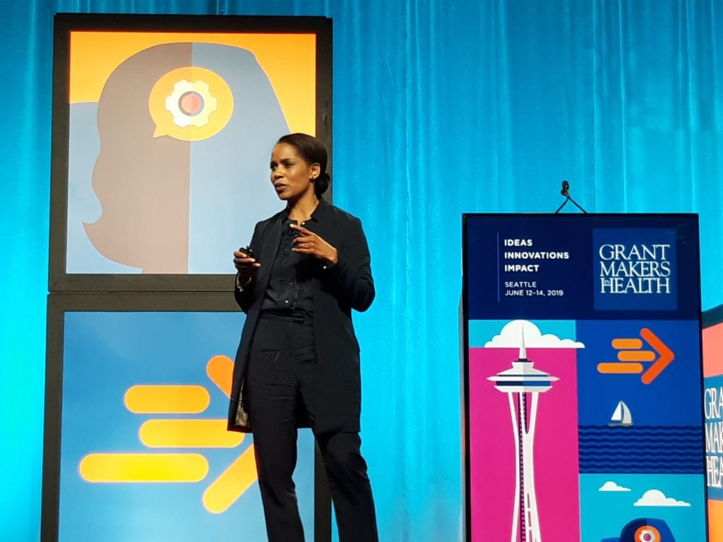 Shena Ashley from the Urban Institute speaks at the Grantmakers in Health Annual Conference