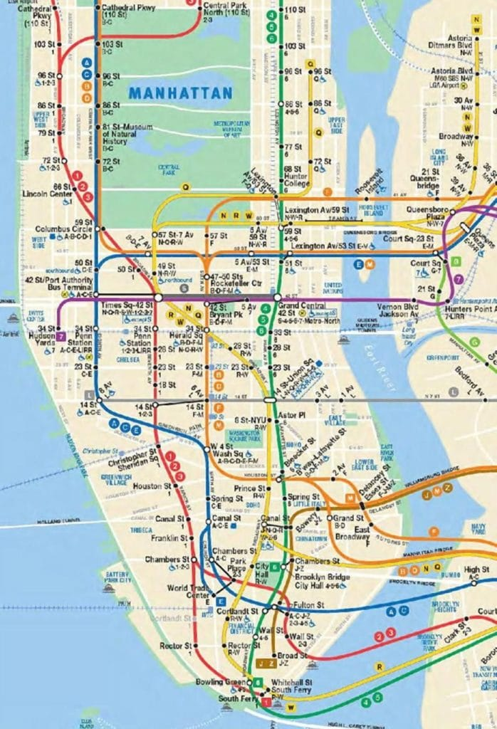 Map of the Manhattan portion of the New York City subway system