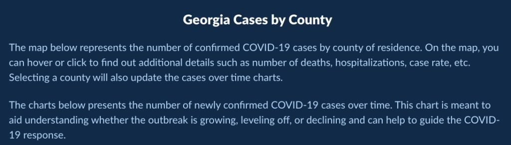 Georgia cases by county from the Georgia Department of Public Health