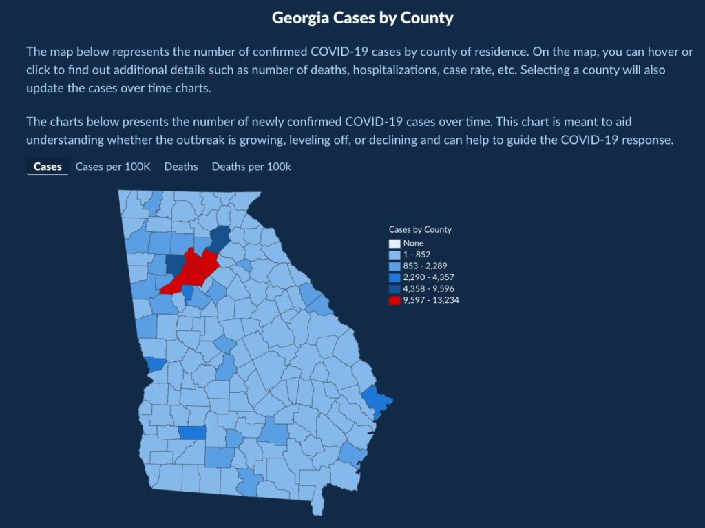 Map of Georgia cases by county from the Georgia Department of Public Health