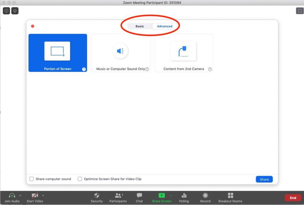 Advanced Zoom Meeting tab.