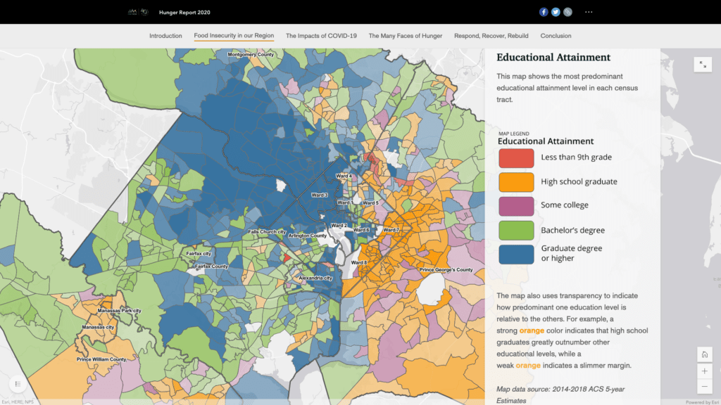 Choropleth map of educational attainment from the Capital Area Food Bank.