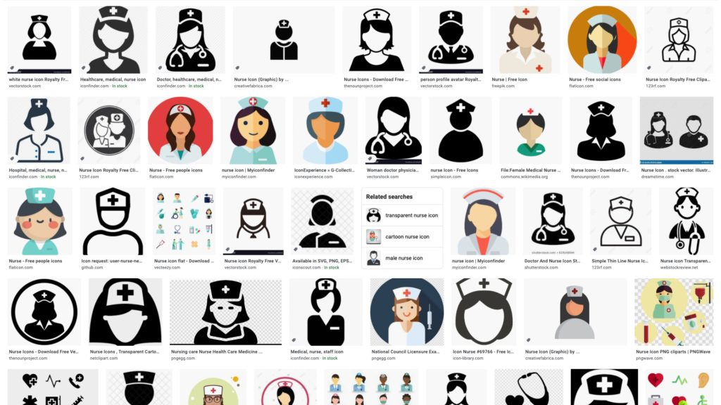 "Google search for ""nurse icon"" shows feminine icons."
