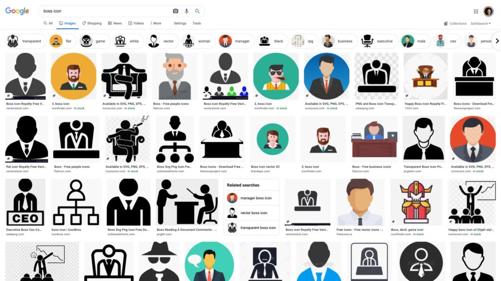 "Google search for ""boss icon"" shows masculine icons."