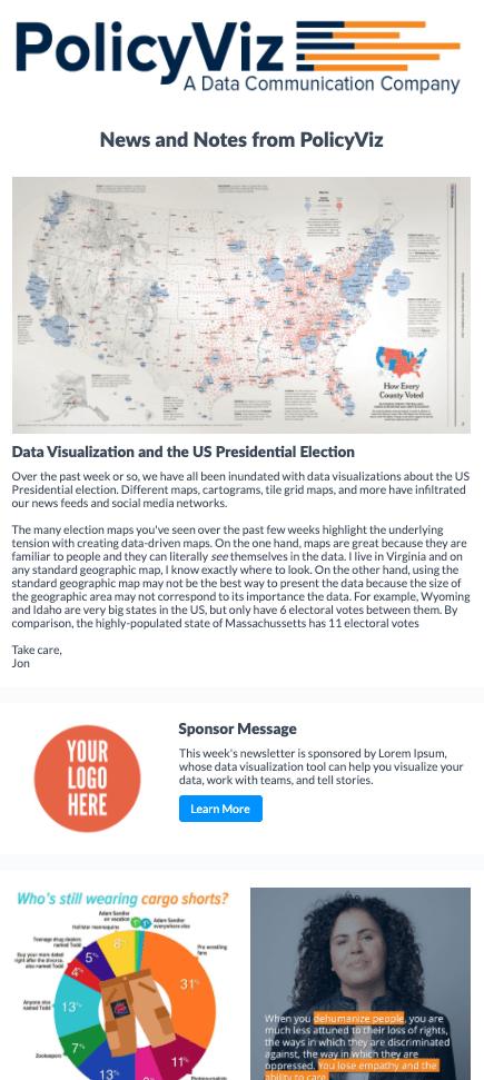 Sample PolicyViz newsletter with space for sponsor logo