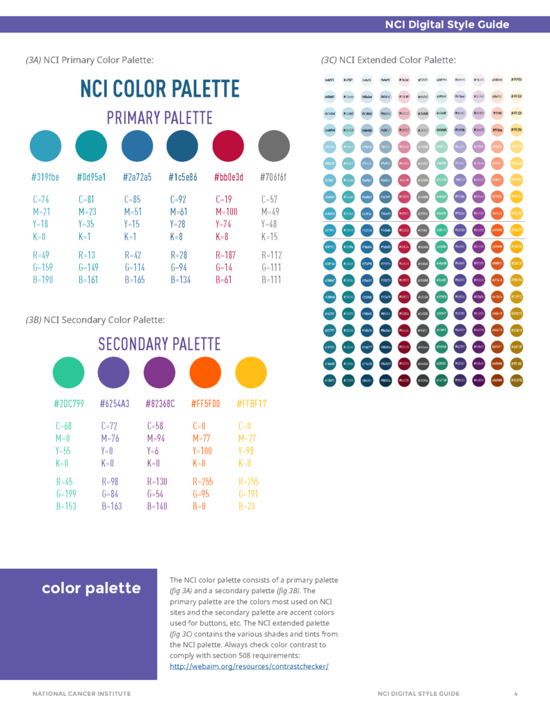 Image from the National Cancer Institute style guide showing color palettes.